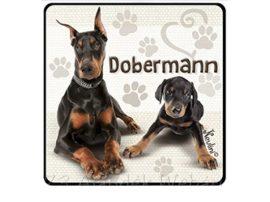 Dobermann kutyás hűtőmágnes