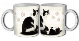Cica bögre - fekete-fehér