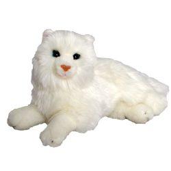 Fekvő fehér plüss cica