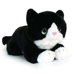Élethű fekete plüss Cica