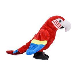 15 cm-es plüss piros papagáj
