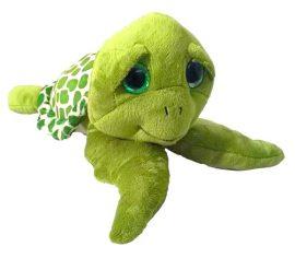 24 cm-es kedvesen mosolygó, csillogó szemű plüss teknősbéka